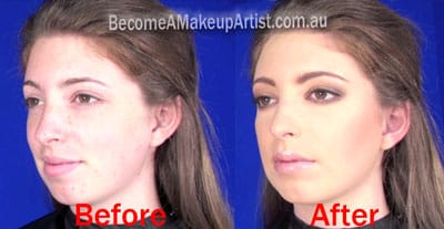 Before and after photo of Fashion course model