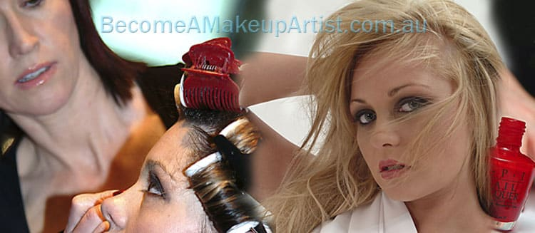 Photo Collage of Lyanne Pix applying makeup to models